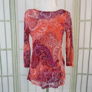 Investments 2 layer blouse sheer lace overlay